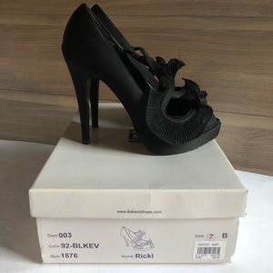 Black Satin Peep Toe High Heel